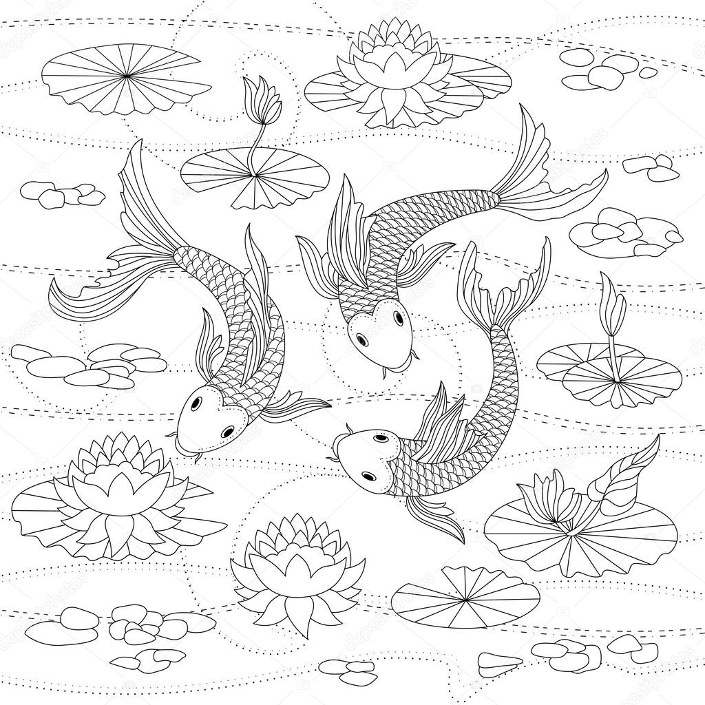 Monochrome illustration of japanese koi for coloring page