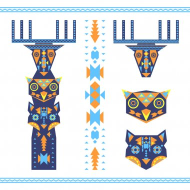 Vector illustration of tribal totem with the heads of deer, owl