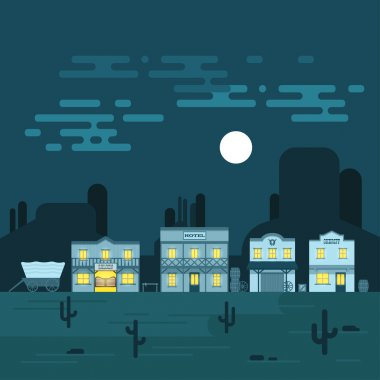 Vector illustration of an old western town at night.