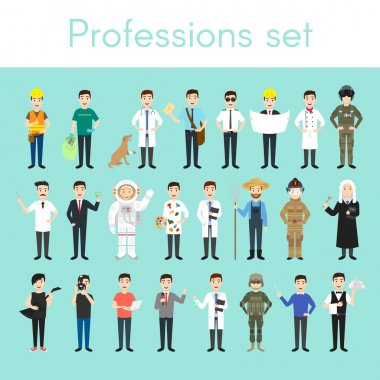 Vector set of different colorful man professions.