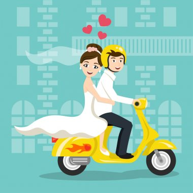 Vector illustration of young happy newlyweds bride and groom riding on scooter. Retro style transport, vintage looking moped. Honeymoon. Vector print for card or poster design. stock vector