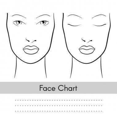 Vector woman face chart portrait.