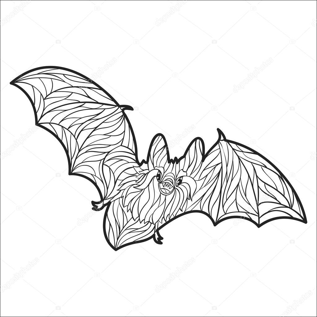 Vektor-Monochrom hand gezeichnete Darstellung der Fledermaus ...