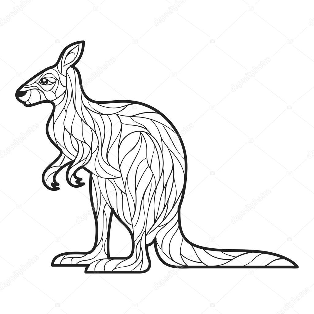 Vektor-Monochrom hand gezeichnete Illustration des Känguru ...