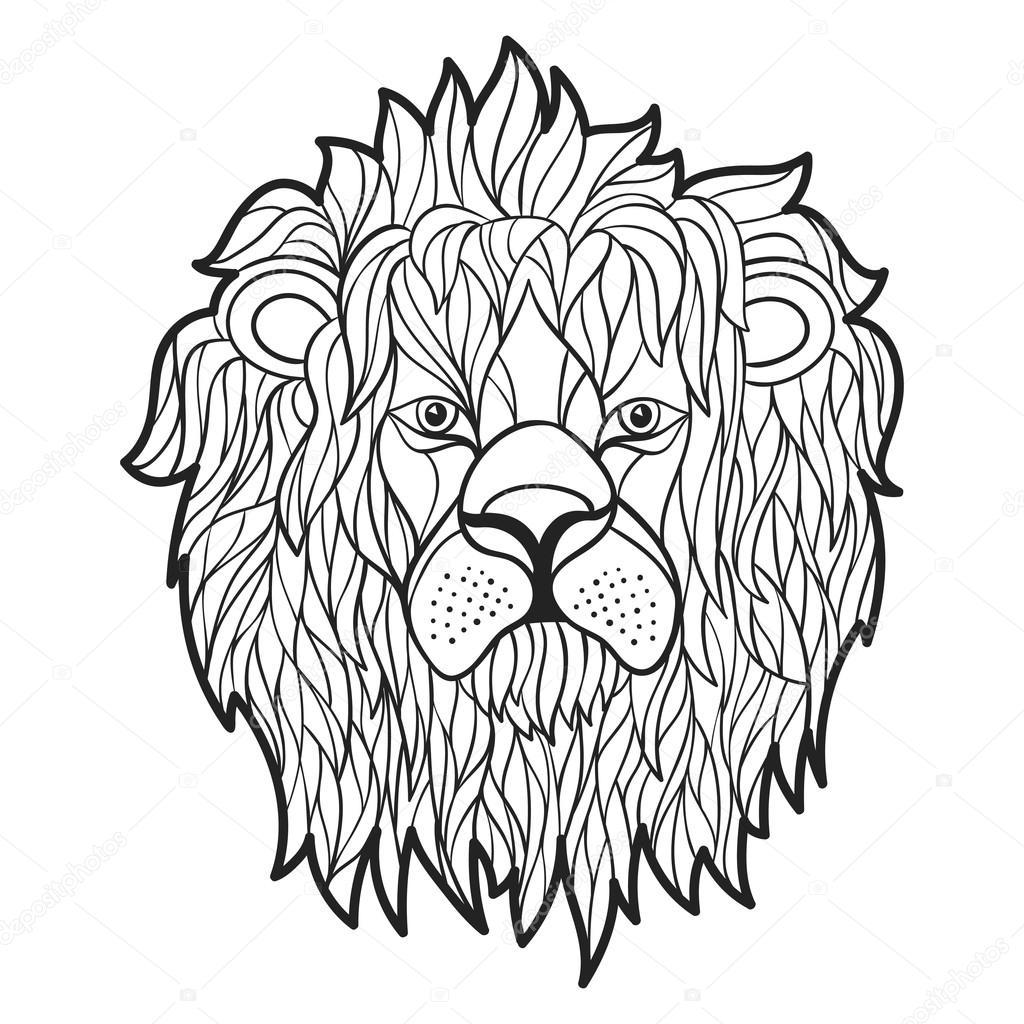 Monocromo de vector ilustración dibujado de cara de León de la mano ...