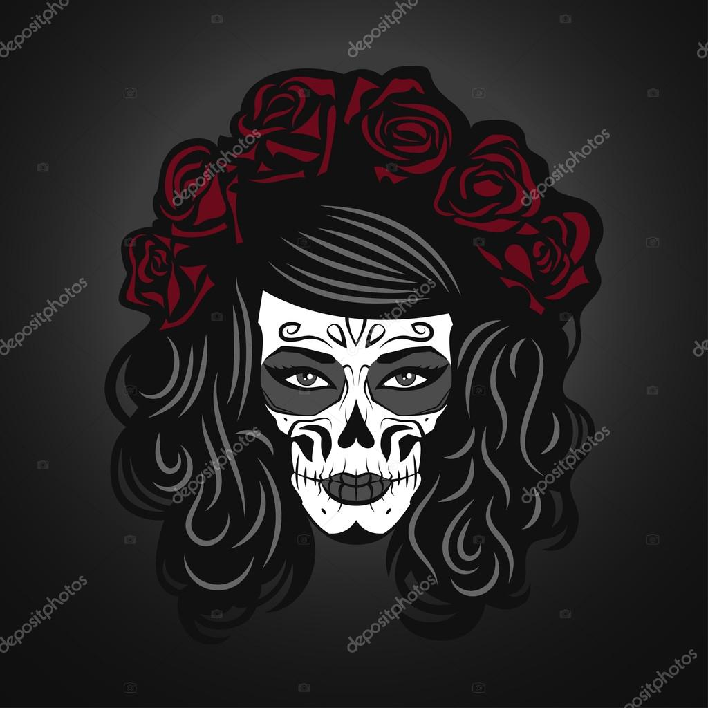 d67b005ec17 Day of The Dead Woman Illustration with Sugar Skull Face — Stock ...