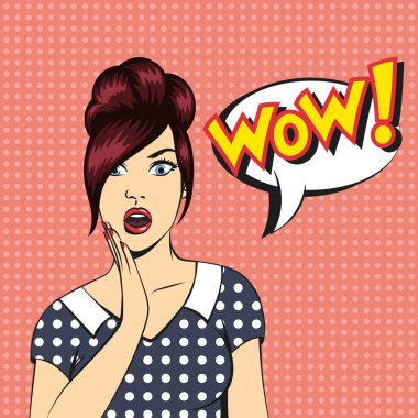 Pop art surprised woman face with open mouth and a WOW bu