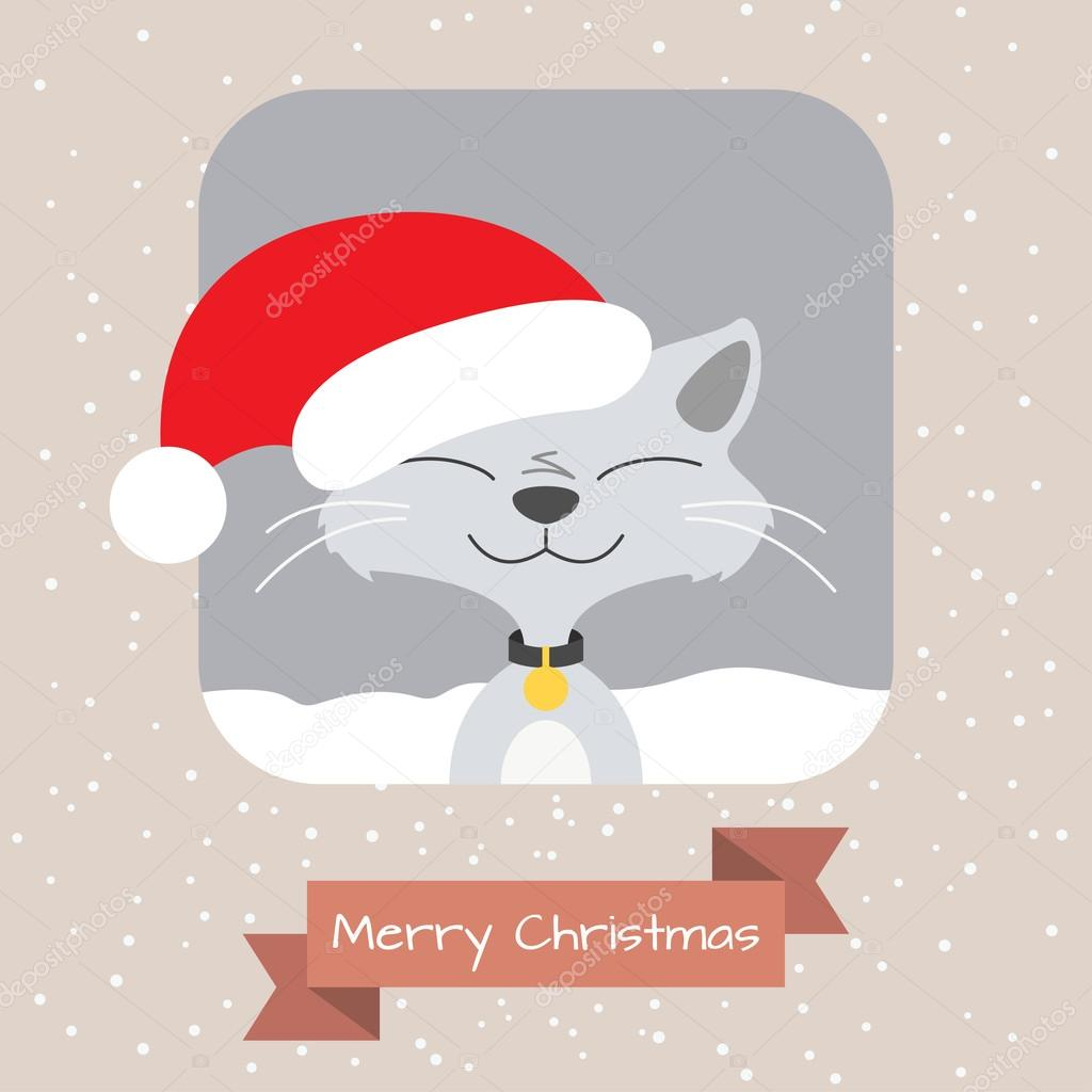 Christmas Greeting Card With Funny Cat Stock Vector Tkronalter9