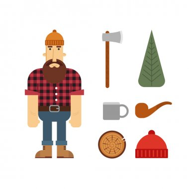Vector Lumberjack cartoon character with lumberjack icons.