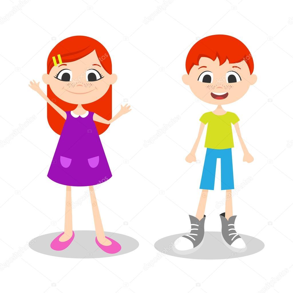 Mutlu Genç çocuk Ve çilli Kız çizimi Stok Vektör Tkronalter9
