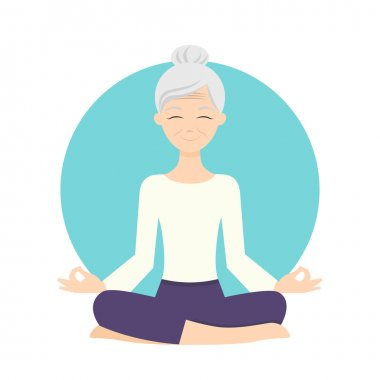Illustration of senior woman practicing yoga exercises.