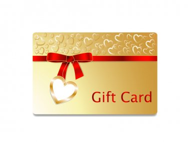Gift Card with golden heart Background and red ribbon bow