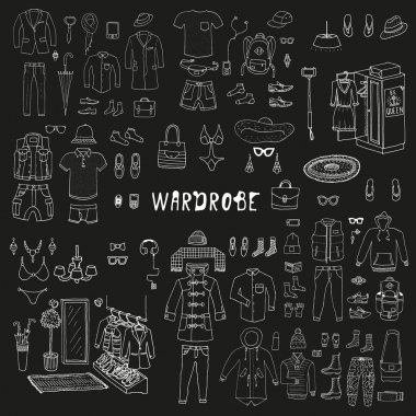 Big hand drawn collection of trendy clothes
