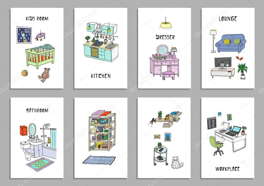 Set van acht creatieve interieur kaarten — Stockvector © WINS86 ...