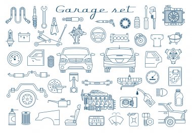 Garage. Car parts set