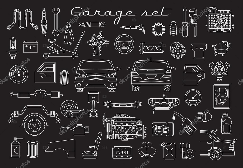 Garage. Car parts set — Stock Vector © WINS86 #124072464