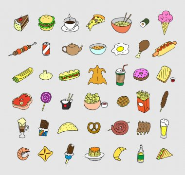 Set of icons about food and drink.