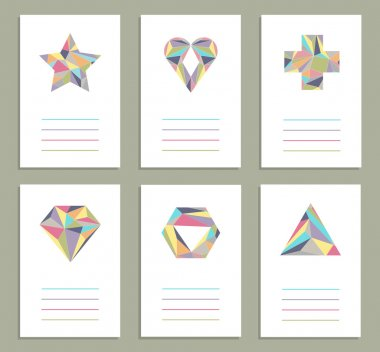 Set of six creative cards.
