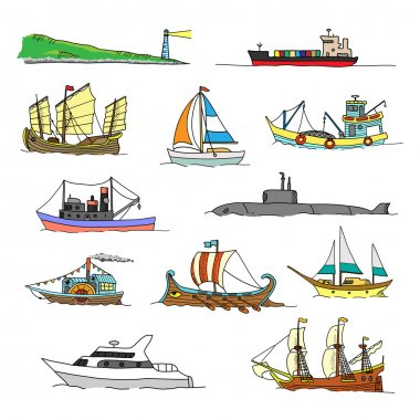 Set with boats of different ages.