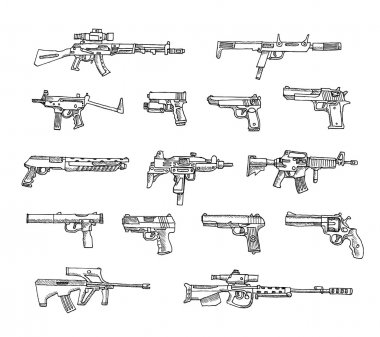 Set of weapons  isolated