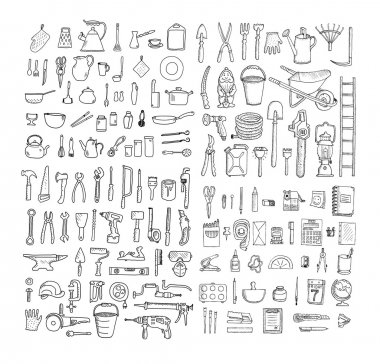 Big household objects set.