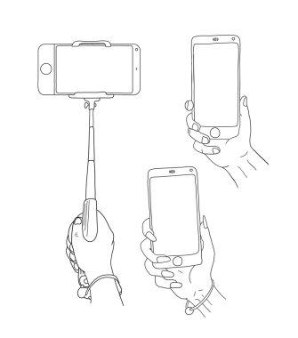 Selfie on smartphone. Doodle