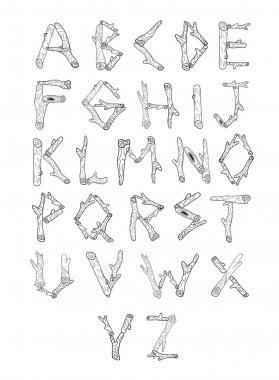 Wood alphabet made from logs.