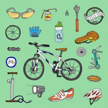 Bicycle stuff. Doodle set