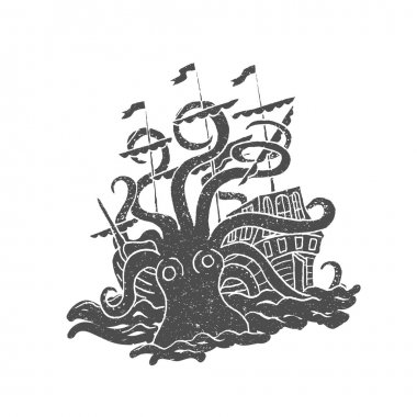 Octopus with boat. Vintage.