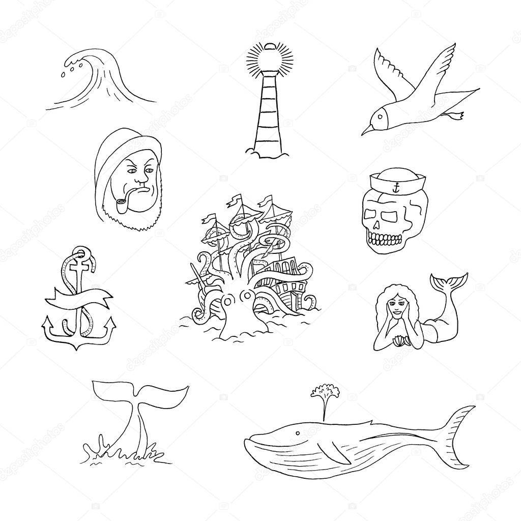 marine themes tattoo sailor stock vector wins86 95500960