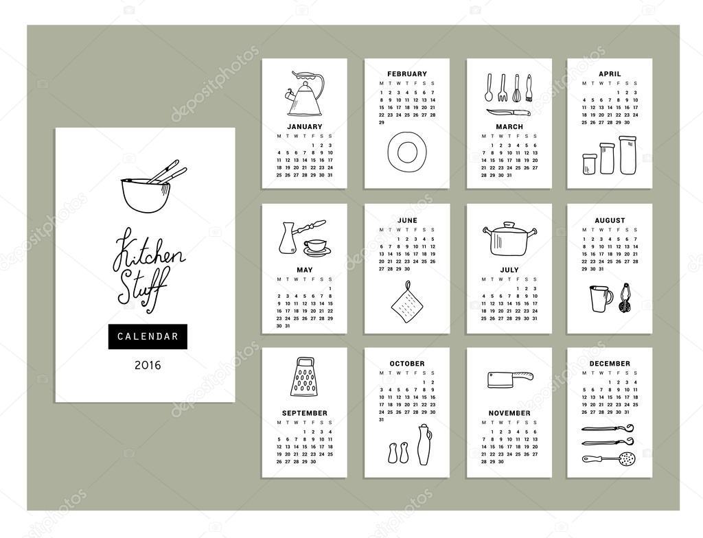 Utensilios de cocina de calendario del 2016 — Vector de stock ...