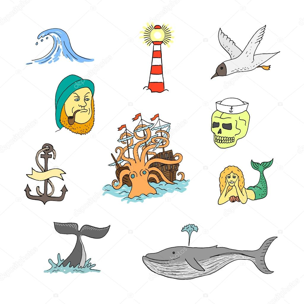 marine themes tattoo sailor stock vector wins86 95501944