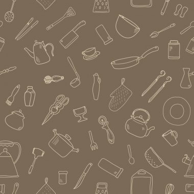 Seamless pattern with kitchenware