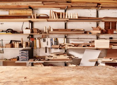 woodwork workshop wall with many shelves