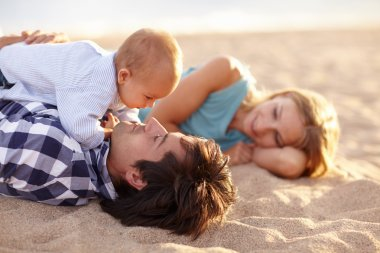 Beautiful family on beach together