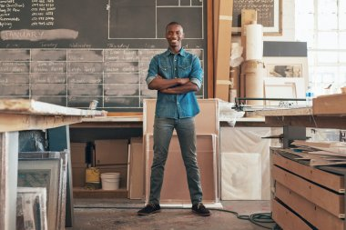 business owner standing in studio workshop