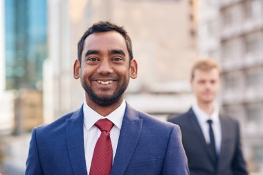businessman with colleague in city