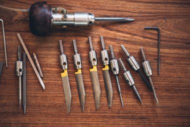 hand engraving tools placing on table