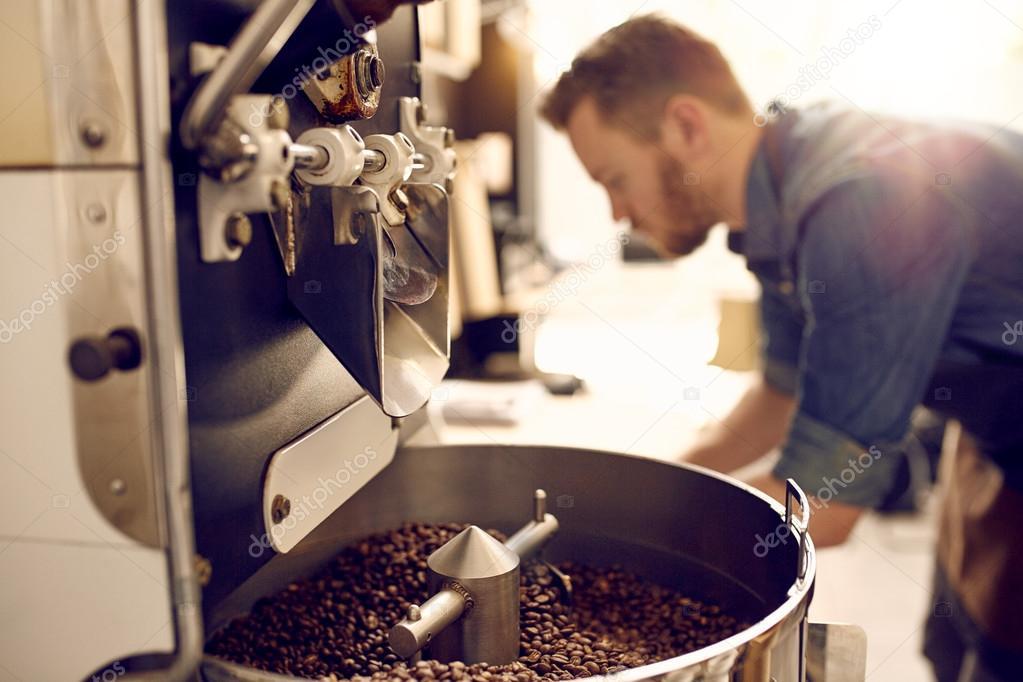 coffee beans in modern roasting machine