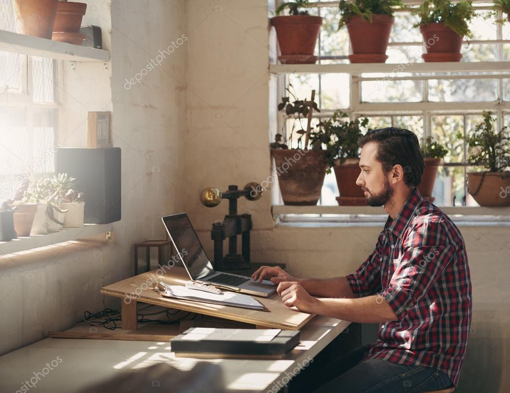 Designer working in creative office space