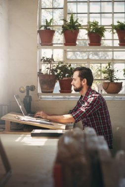Entrepreneur working in office space