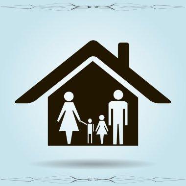 kids silhouette family icon.