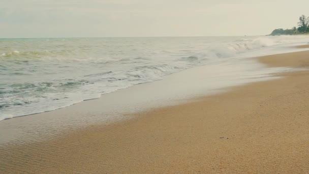 Pobřeží s příbojem a vlnami na pouštní písečné tropické pláži při západu slunce