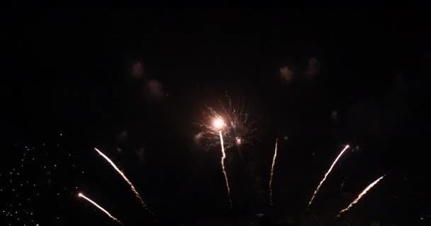 Tűzijáték ünneplik évforduló boldog új évet 2022, július 4-én ünnep fesztivál. színes tűzijáték az éjszaka, hogy megünnepeljük a nemzeti ünnep. visszaszámlálás új év 2022 party time event.