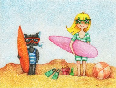 Girl and cat with surfboards