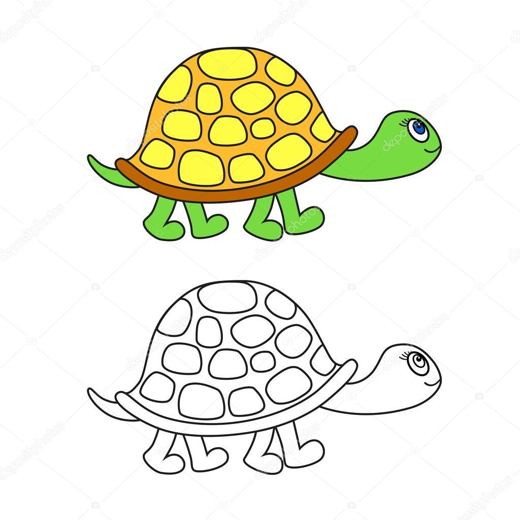 Vektor-Illustration und schwarze Kontur der Schildkröte ...