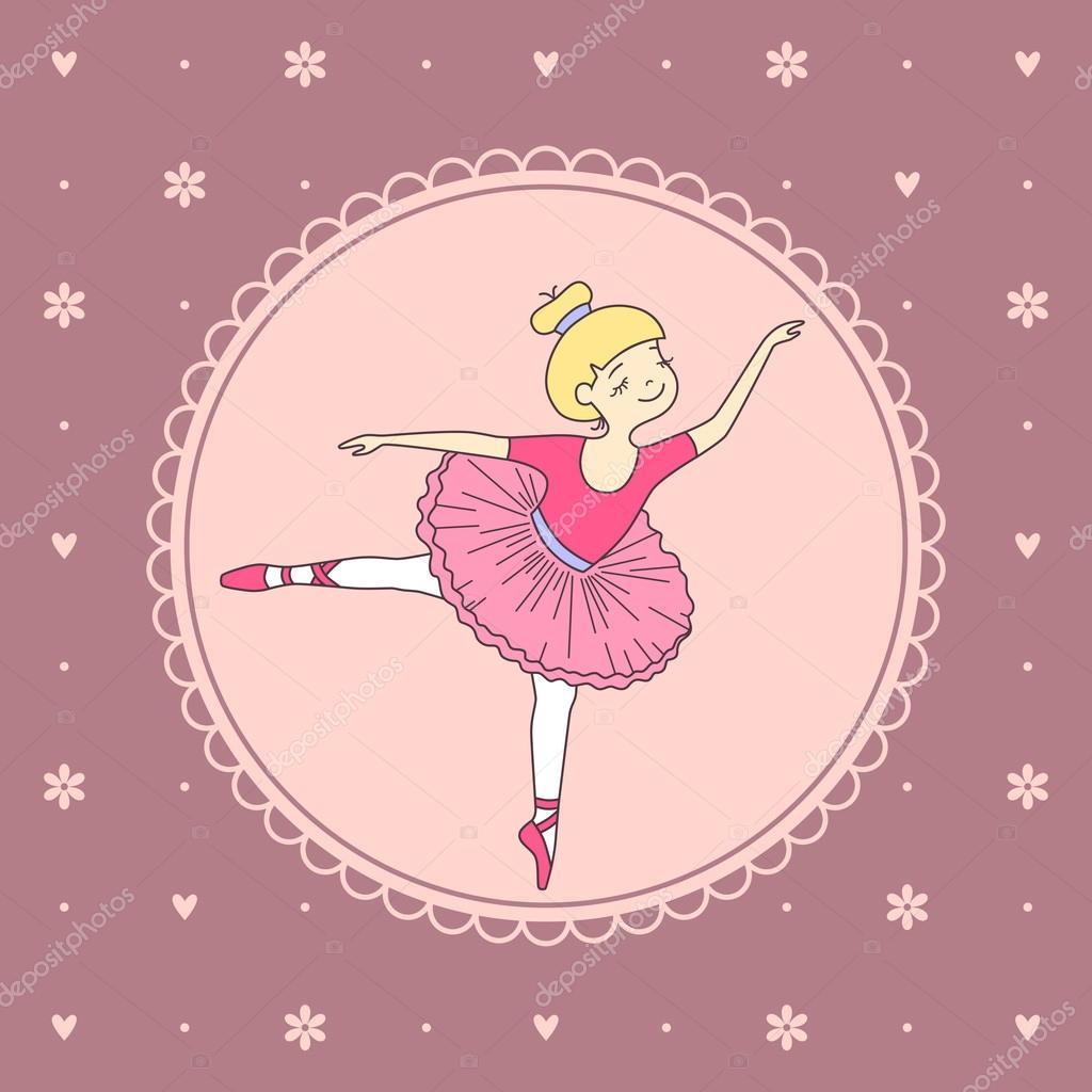 Ilustración de vector de bonito pequeña bailarina de ballet — Vector ...