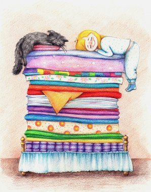 A girl  and cat sleeping in a bed.