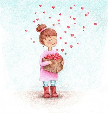 Child's picture of girl with hearts by the pencils stock vector