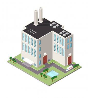 Isometric Refinery Factory Building